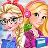 Elsa and Rapunzel College Girls